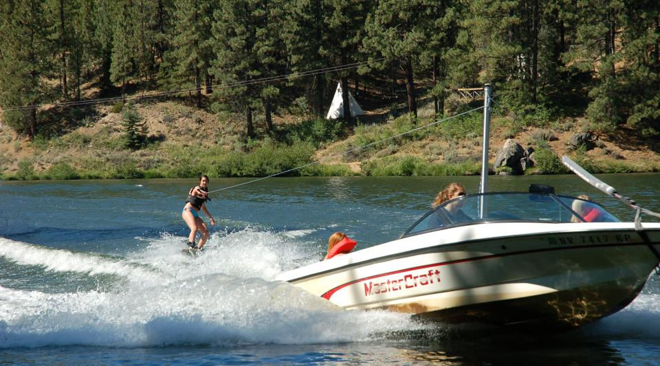 waterskiing and wakebaording at Lake Tahoe camp