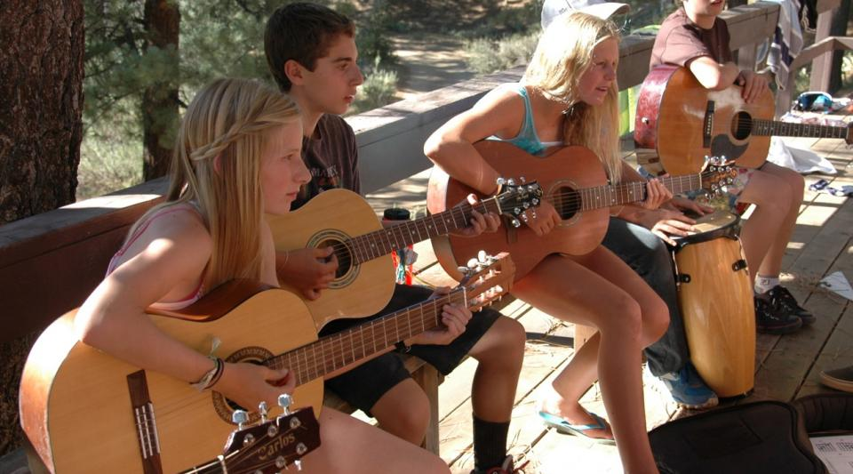 playing music at summer camp