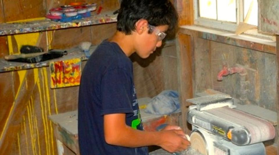 campers create projects at woodworking