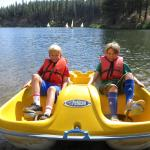 Walton's campers enjoying a beautiful day on our private lake known as the Grizzly Ice Pond