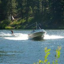 water skiing and wake boarding on our private lake